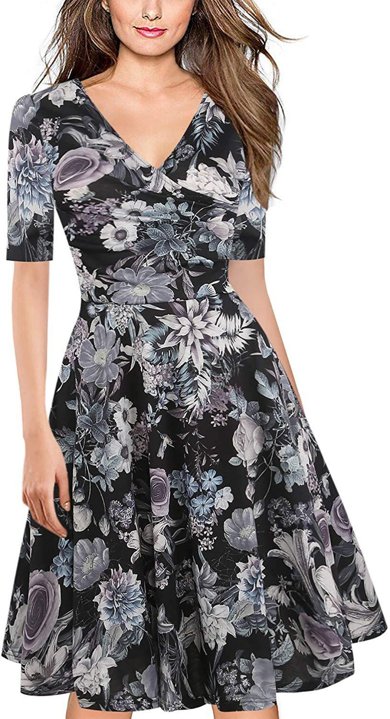 oxiuly Women's Criss-Cross V-Neck Cap Half Sleeve Floral Casual Work Party Tea Swing Dress OX233
