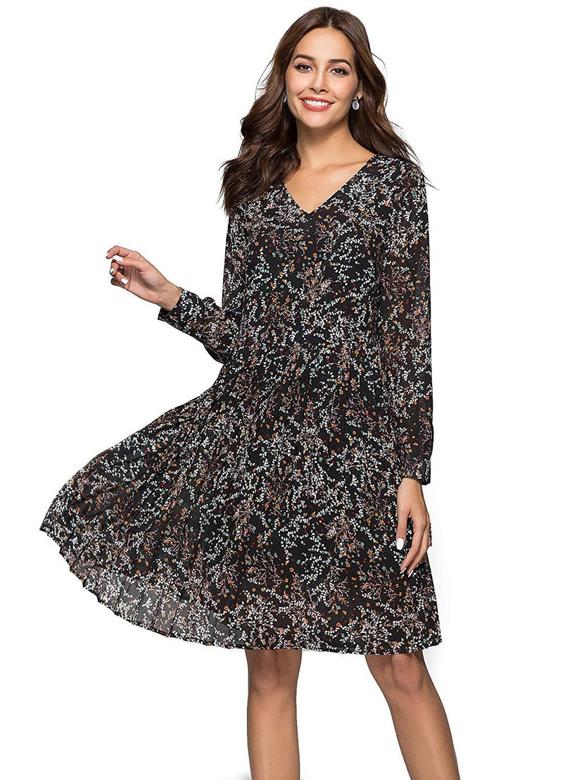 ANNA CHRIS Womens Floral Casual V-Neck Long Sleeve Swing Midi Dress