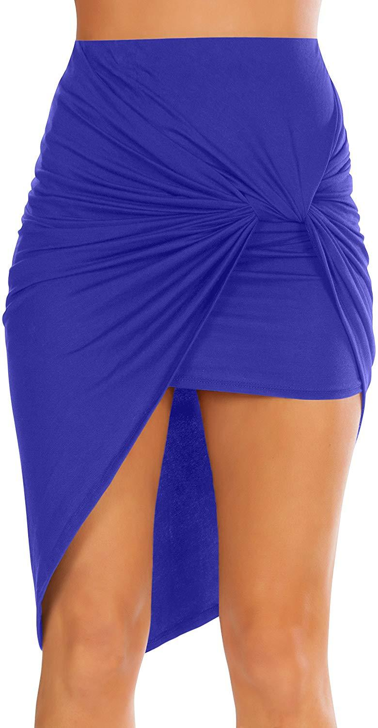 Womens Drape Up Stretchy Asymmetrical High Low Short Mini Bodycon Pencil Skirt 1