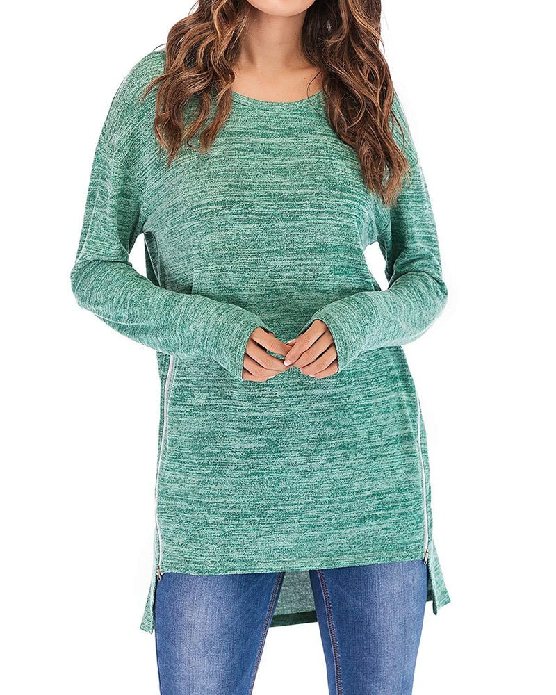 AMCLOS Womens Tops Knitted Pullover Sweater Tunic T Shirts Crew Neck Long Sleeve Side Zipper Loose Casual Blouse