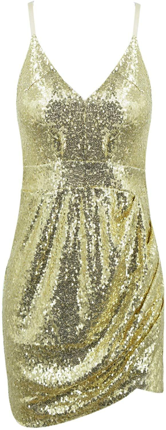Azbro Women's Deep V Neck Sequin Glitter Bodycon Stretchy Mini Party Dress