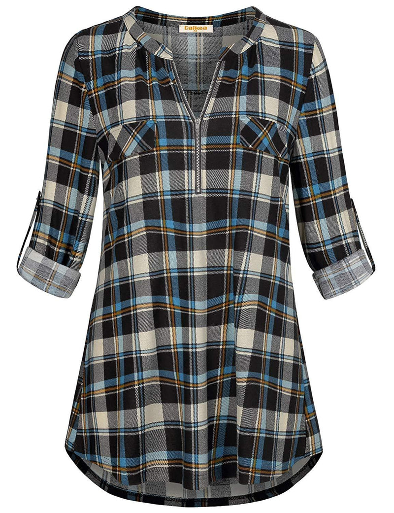 MIXJOY Baikea Women's 3/4 Rolled Sleeve Zipped V Neck Plaid Shirt Casual Tunic Blouses