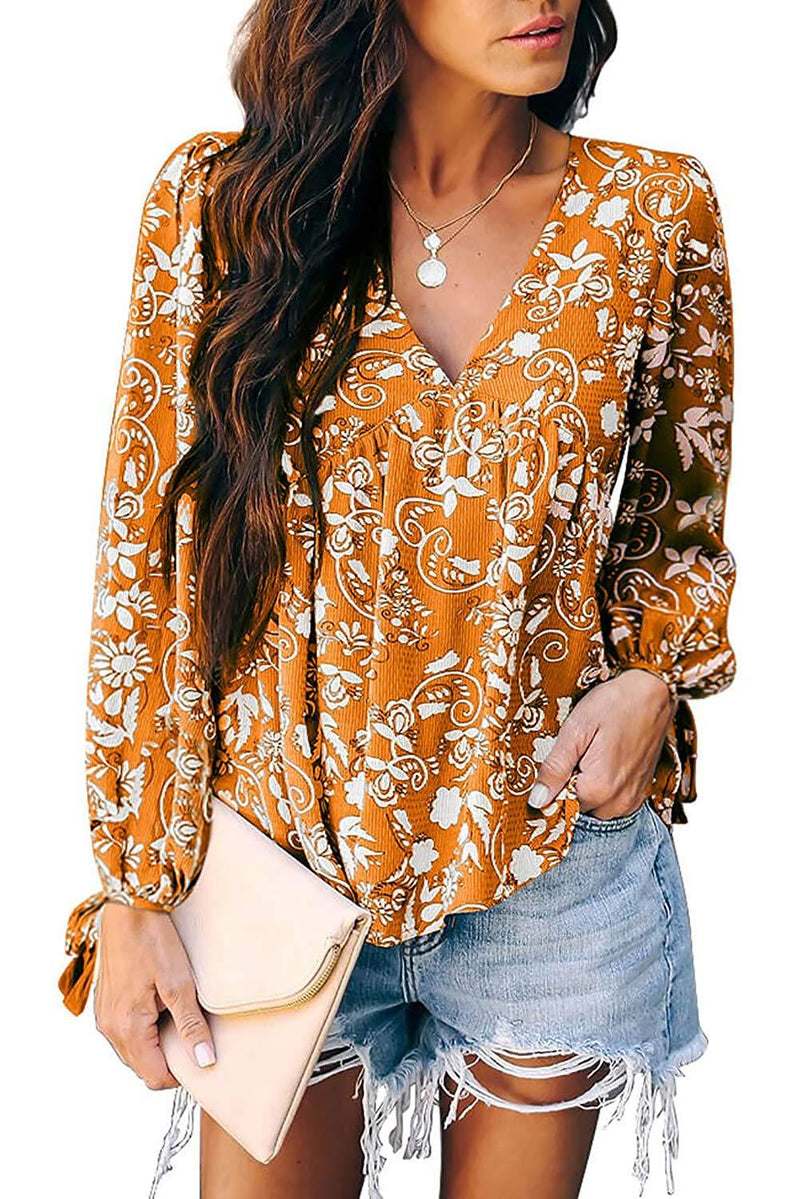AmandaK Women's Floral Print V Neck Long Sleeve Blouse Casual Pleated Tunic Shirts Tops S-2X