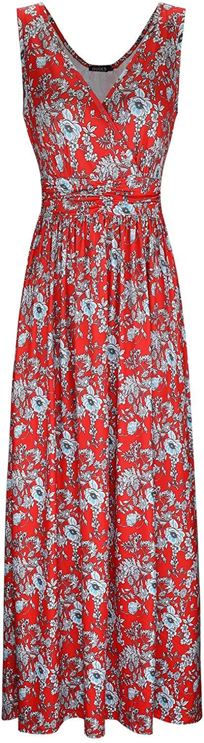 OUGES Women's V-Neck Pattern Pocket Maxi Long Dress