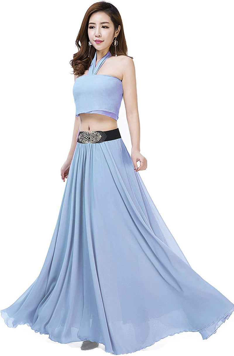 Sinreefsy Summer Chiffon High Waist Pleated Big Hem Floor/Ankle Length Beach Maxi Skirt for Women Wedding Party