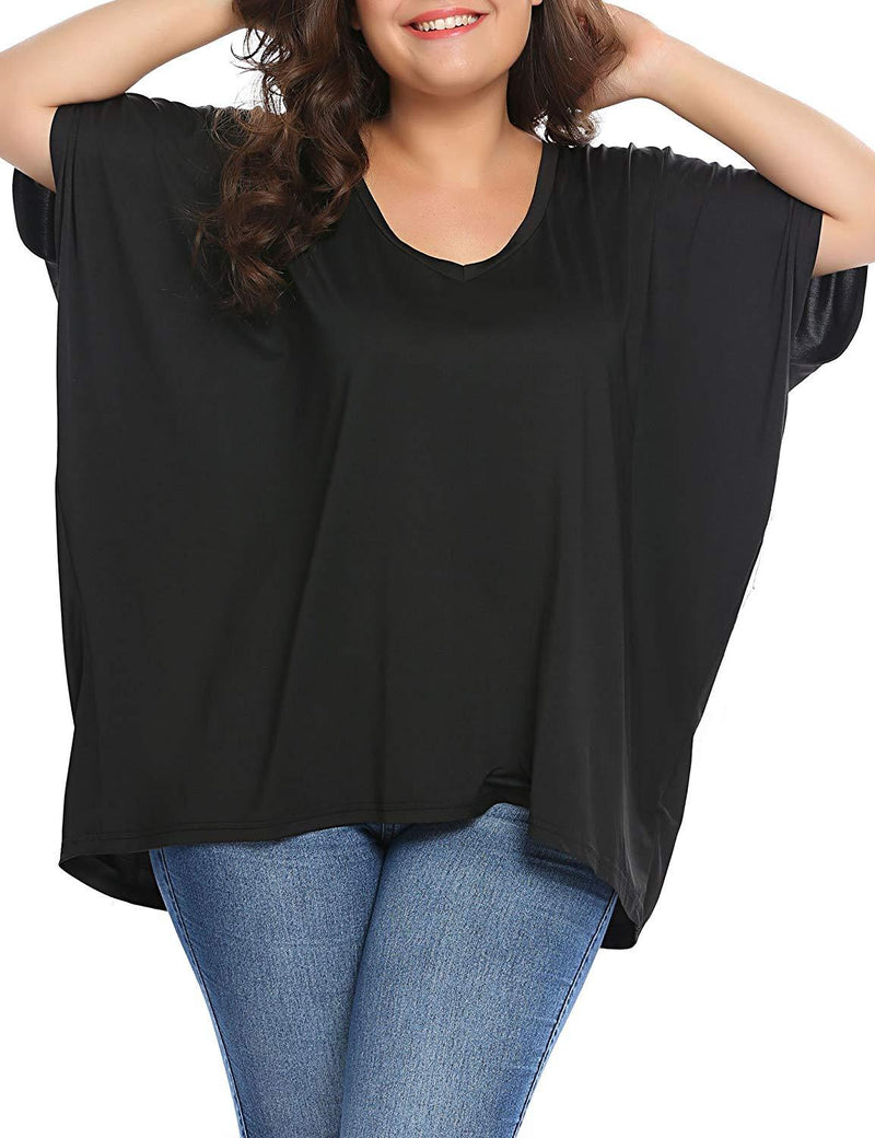 IN'VOLAND Womens Plus Size V Neck Batwing Sleeve Casual Loose Tee Shirts
