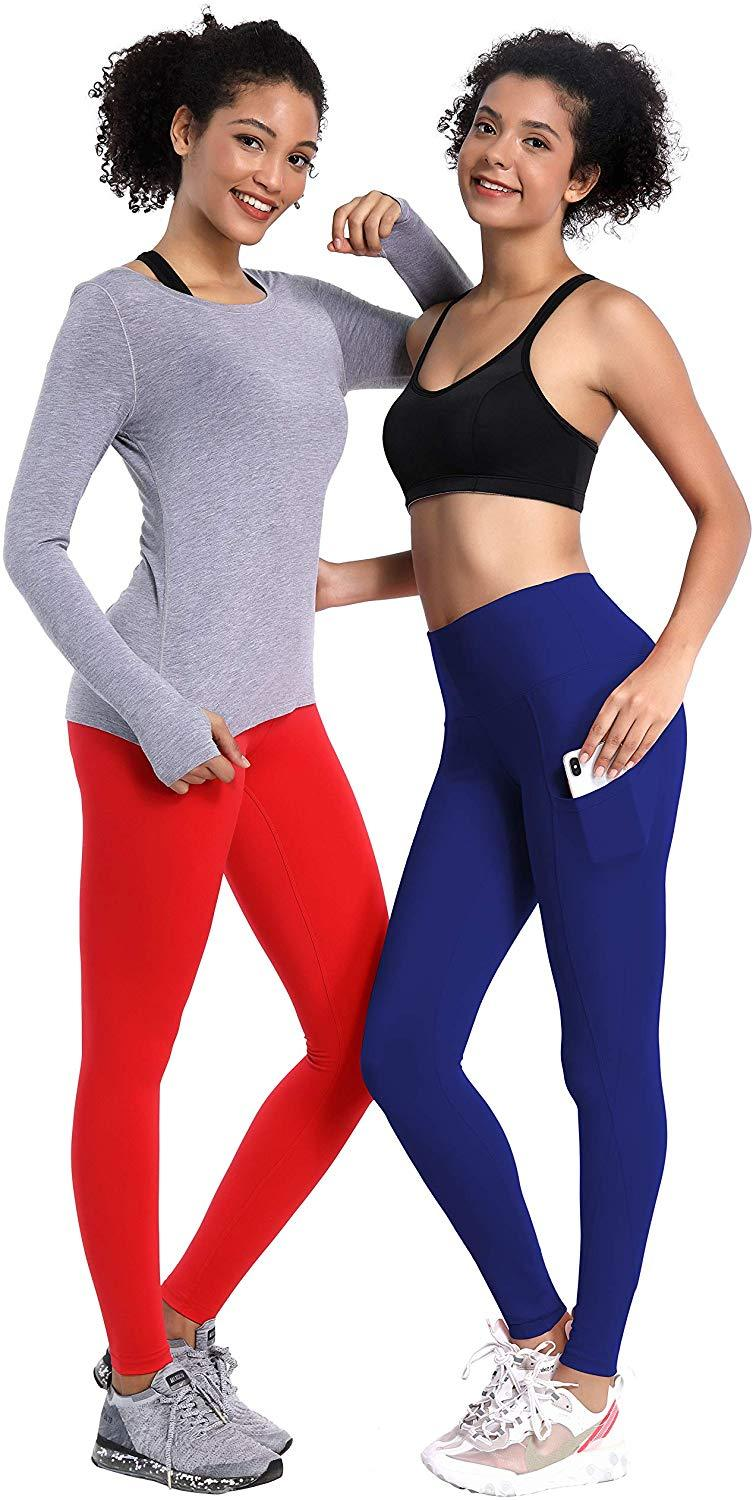 "BUBBLELIME 22""/25""/26""/27""/28"" Inseam 2 Styles Out Pockets High Waist Yoga Pants Women Workout Leggings Tummy Control Running"