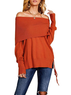 YeMgSiP Womens Off The Shoulder Sweater Long Sleeve Lace Up Loose Pullover Knitted Jumper Tunic Tops