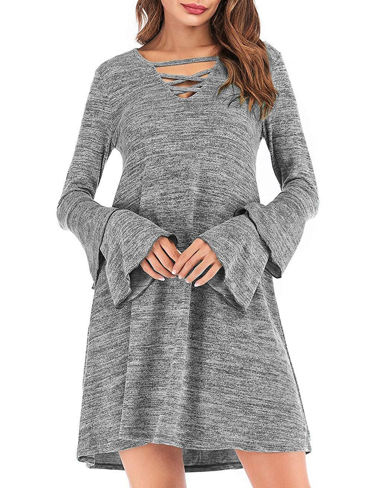 Eanklosco Women's Sweater Dress Flare Long Sleeve Knit Jumper Tops Criss Cross V Neck Loose Swing Tunic Dress