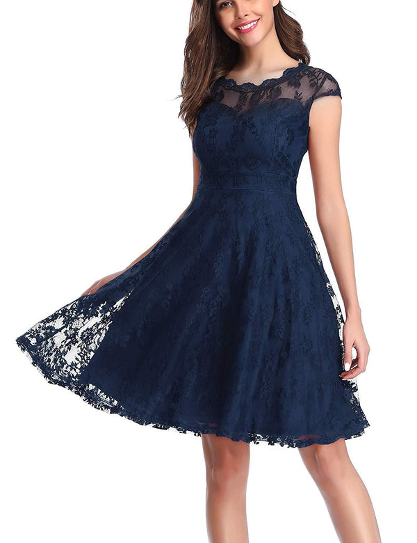 Women's Vintage Floral Lace Cap Sleeve Fit Flare Elegant Cocktail Party Dress