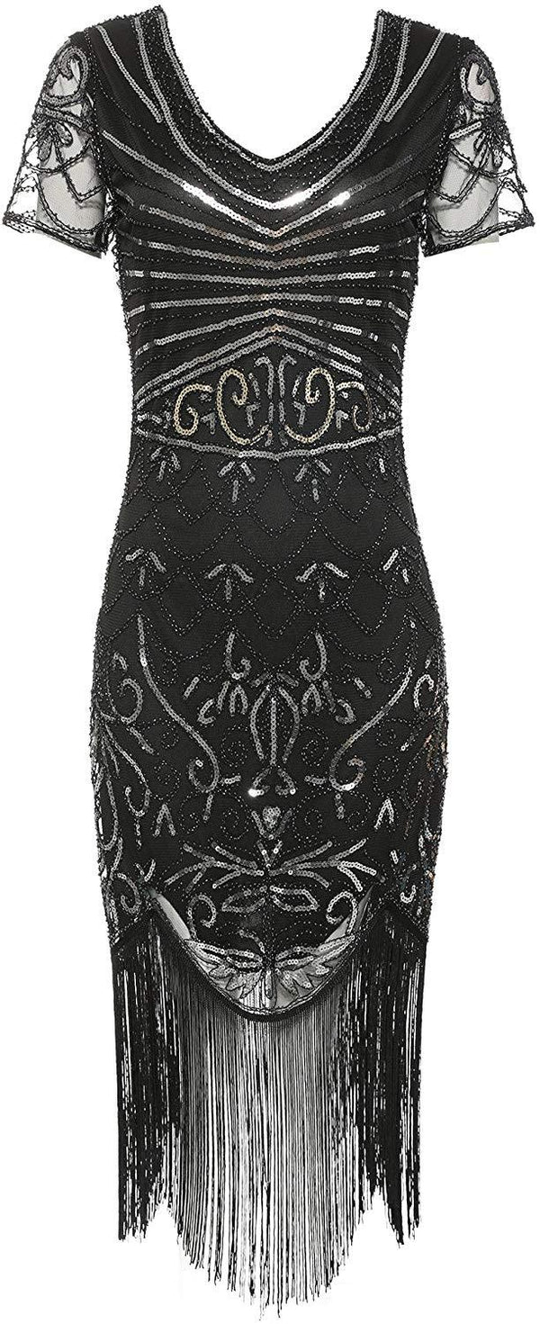 1920s Sequin Flapper Dress Great Gatsby Inspired Embellished Cocktail Dress