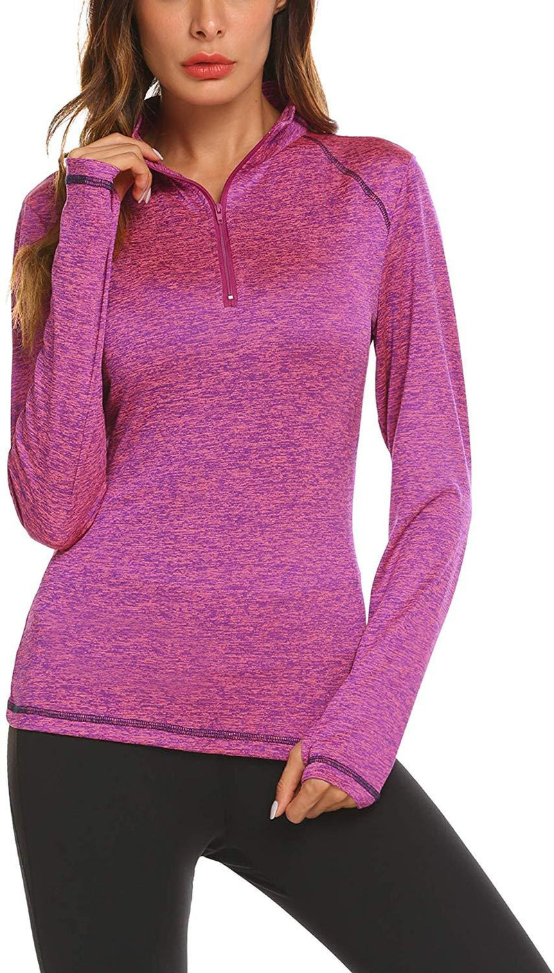 HOTLOOX Women's Long Sleeve Workout Tee Compression Active Yoga Running Gym Sports T-Shirt Tops with Thumb Holes S-XXL