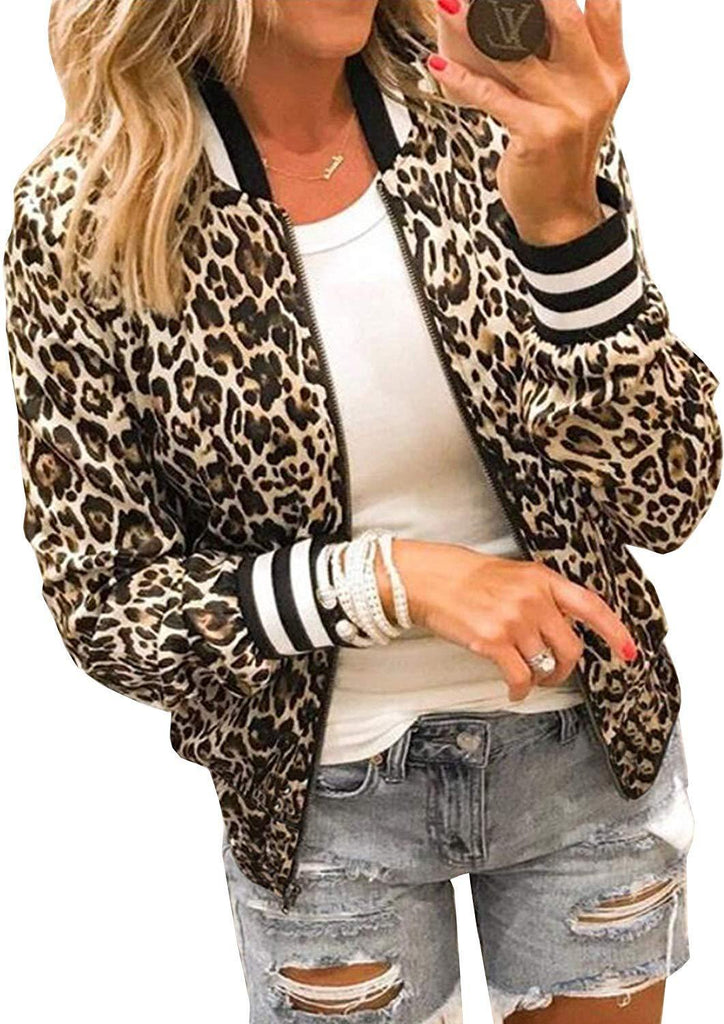 ECOWISH Womens Casual Floral Zip Up Inspired Bomber Jacket Leopard Coat Stand Collar Lightweight Short Outwear Tops