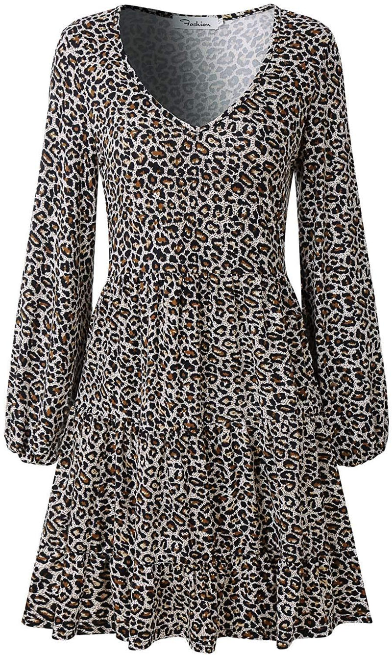 SOLERSUN Women's Casual Leopard Tunic Dress Long Sleeve V Neck Loose Swing Babydoll Dresses