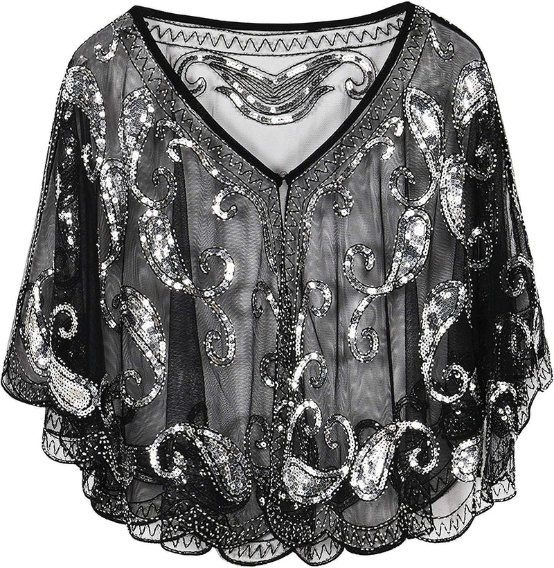 PrettyGuide Women's Evening Cape Sequin Deco Paisley 1920s Shawl Flapper Cover up