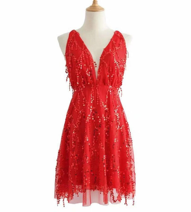 WERIDEDIRT Sequin Backless Casual Tassel Summer Beach Mini Club Party Dress for Women