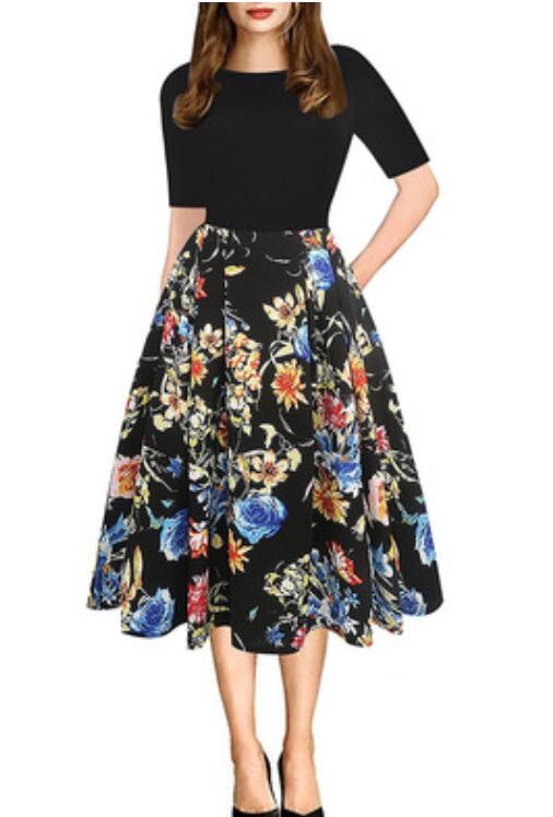 YATHON Women's Vintage Mock Neck Floral Patchwork A Line Work Casual Party Dress