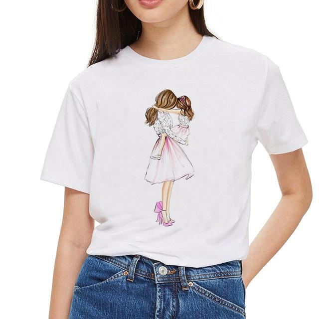 Super Mom T shirt Women Mother's Love Print White T-shirt Harajuku Mama TShirt Vogue Tops tee shirt Femme Vogue Summer