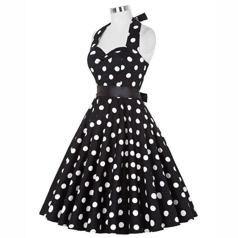Polka Dot Print Women Retro Dress 60s Rockabilly Swing Vintage Dress Cotton Vestidos Robe Sleeveless Party Dress S-2XL