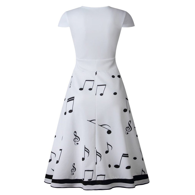 Women Summer Maxi Dresses Musical Note Print Short Sleeve O Neck Party Long Dress Vintage Vestidos Casual A Line Sukienki Robes