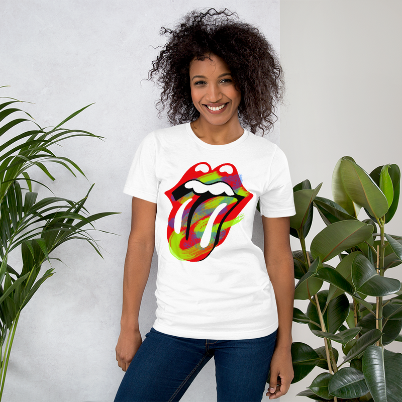 Unisex Rainbow Red Lip Tongue Rolling Stones Cheetah Tee Shirts