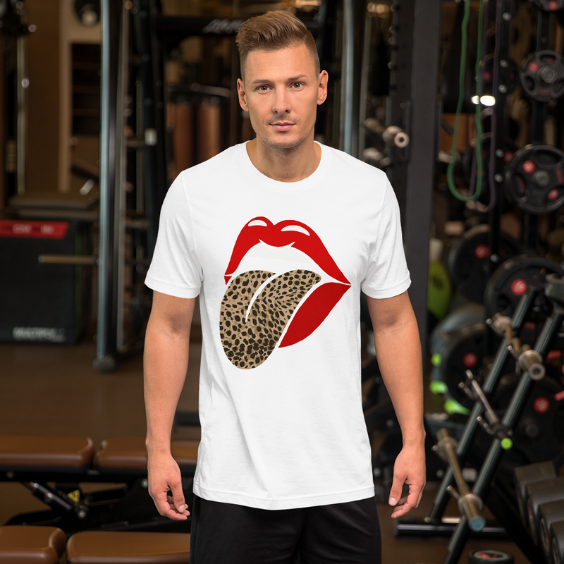 Red Lip Leopard Tongue T-Shirt Round Neck Rolling Stones Classic Tongue Tee Shirts for Women