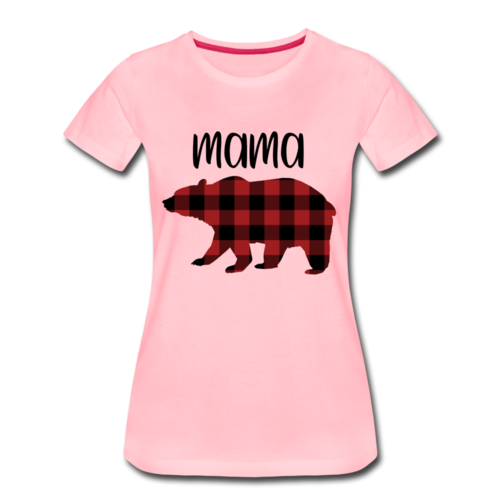 Mama Bear Family T Shirts Short Sleeved Style Stripe Bear