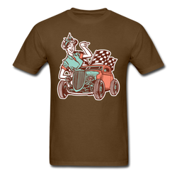 Men's Vintage Pin-up Girl and Car T-shirt Funny Graphic Tee