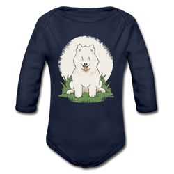 Happy Samoyed Puppy T-shirt Organic Long Sleeve Baby Bodysuit