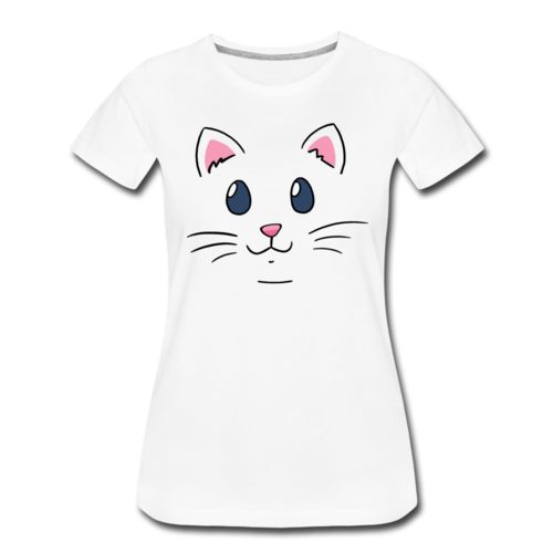 Cat Face Cute T-shirt Women's Premium Funny Graphic Tee
