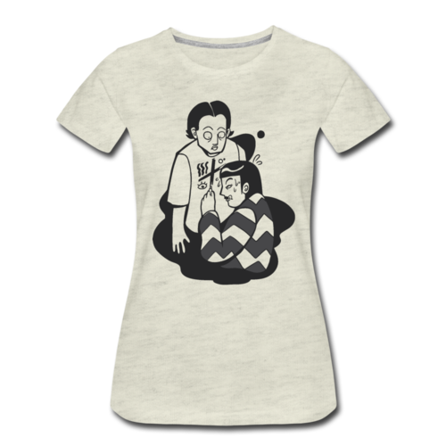 Girl Drawing On Man T-shirt Women's Premium Funny Graphic Cartoon Tee