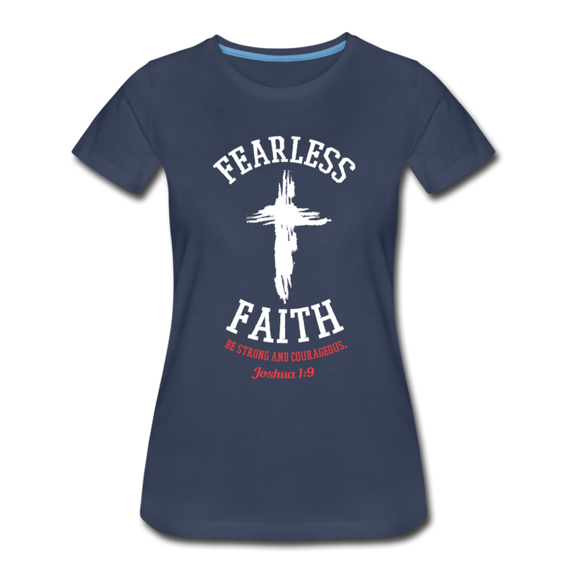 Fearless Faith Grunge Cross T-shirt Women's Premium Funny Graphic Tee