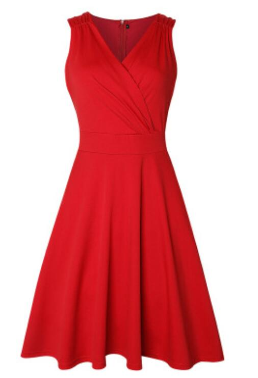 GRACE KARIN Women's 50s 60s Vintage Sleeveless V-Neck Cocktail Swing Dress