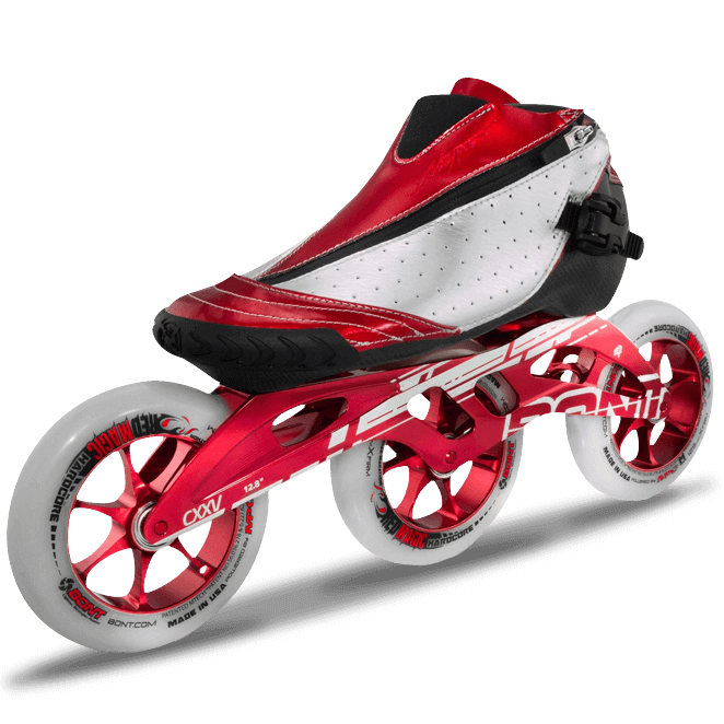 Bont inline speed skate, red with three wheels.