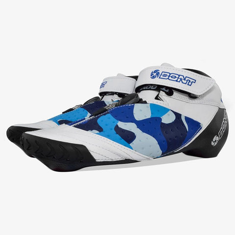 blue-camo bont inline speed skates