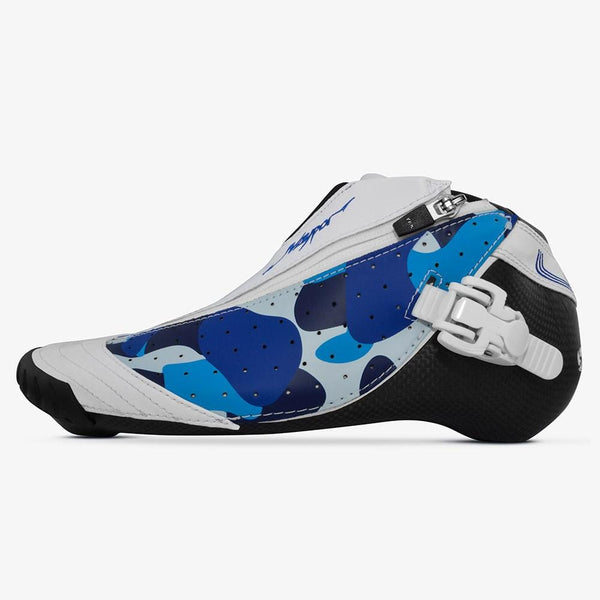 blue-camo speed skating boots