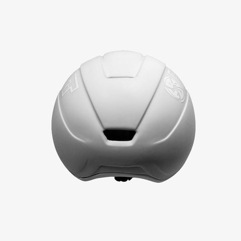 matte-white short track speed skating helmet