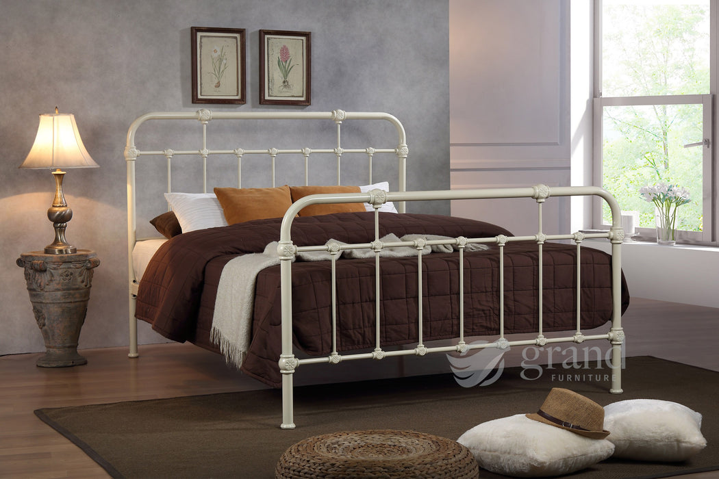 Sandy Hospital Style Cream Bed Frame