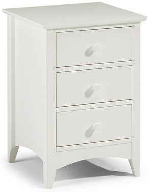 Cameo Stone White 3 Drawer Bedside Table