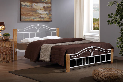 Thiago Wooden & Metal Bed Frame in White
