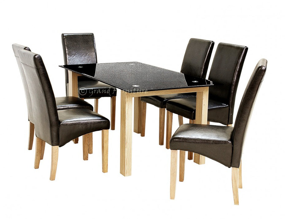 Adina Glass Dining Black Table with 6 Leather Chairs Set
