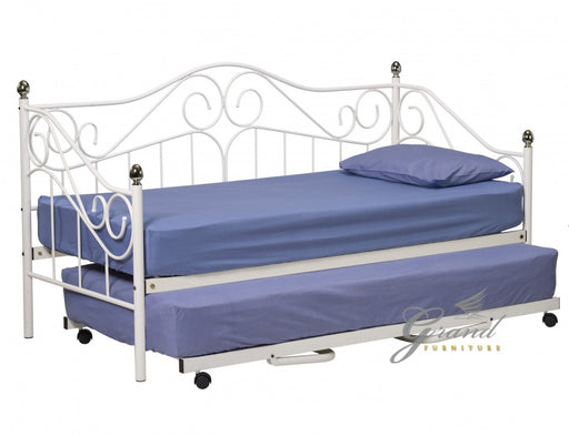 Ava 3FT White Metal Day Bed with Trundle