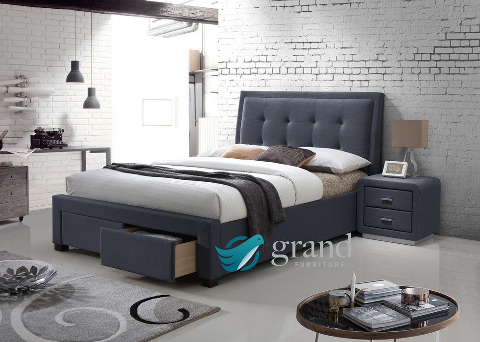 Denver Upholstered Storage Bed in Charcoal