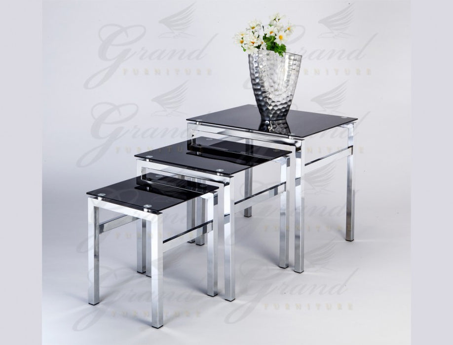 Evelyn Black Glass 3 Nest of Tables