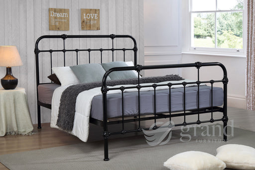 Sandy Hospital Style Black Bed Frame