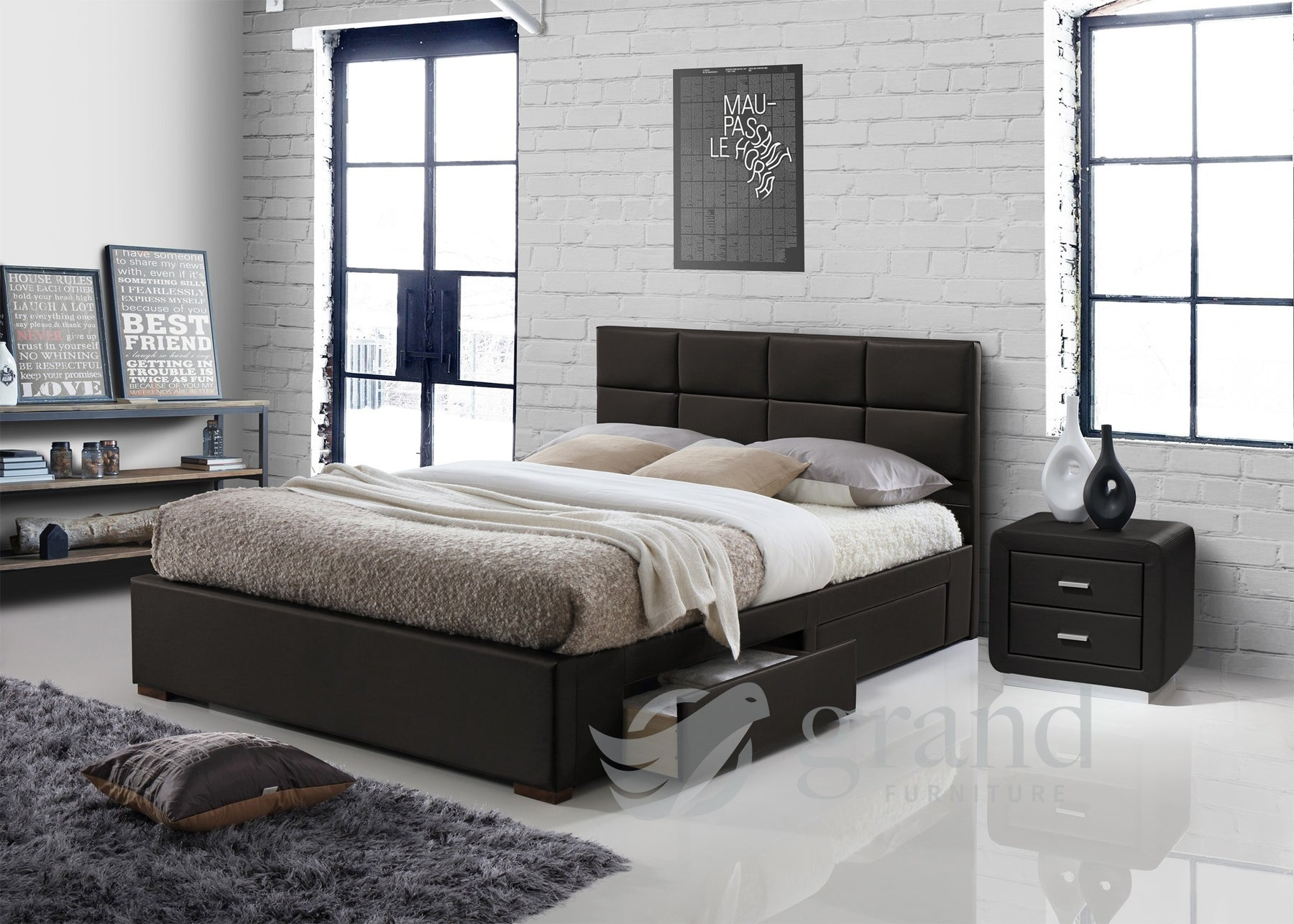 Vermont 4 Drawer Storage Leather Bed in Brown