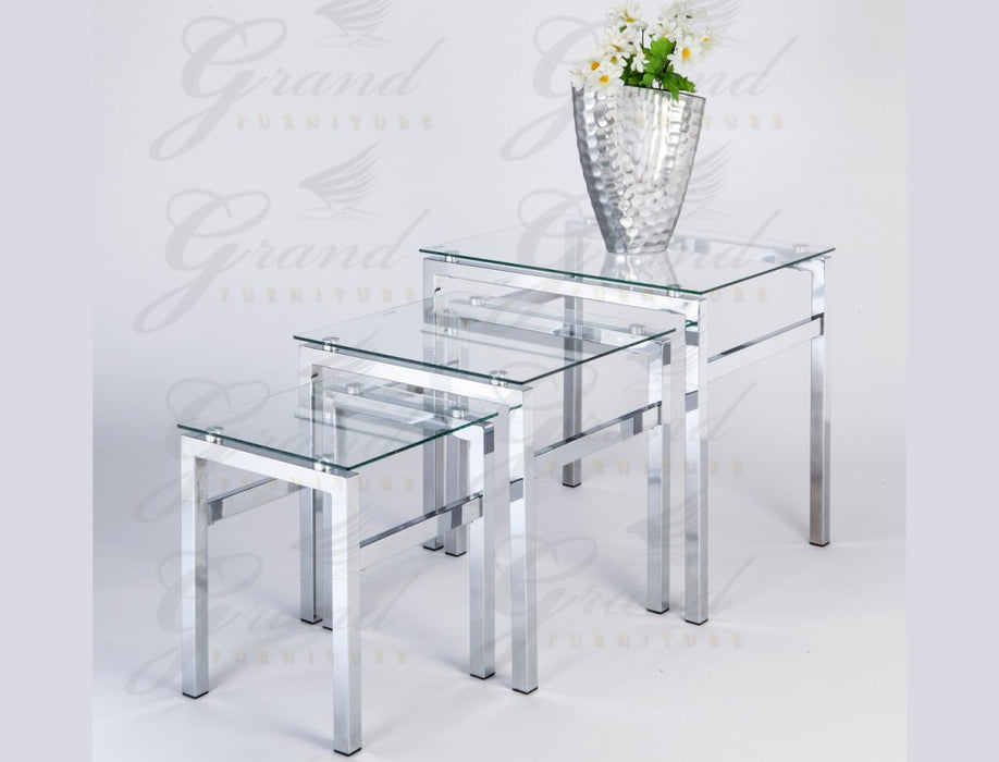 Evelyn Modern Clear Glass 3 Nest of Tables