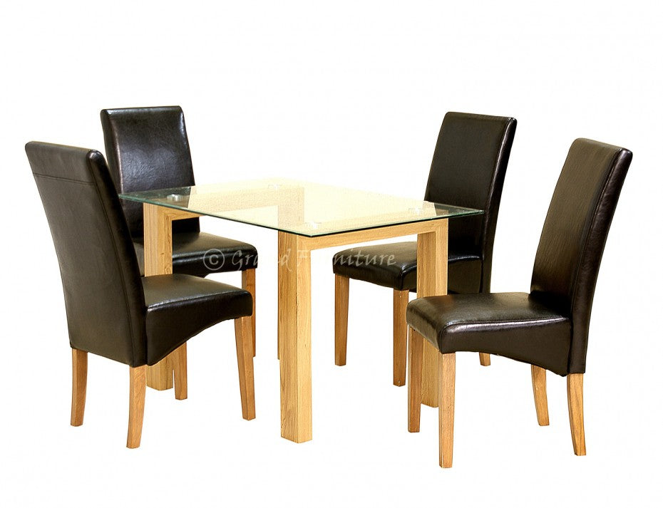 Adina Glass Dining Table with 6 Leather Chairs Set