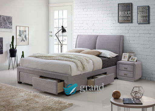 Montana 4 Drawer Fabric Bed in Light Grey