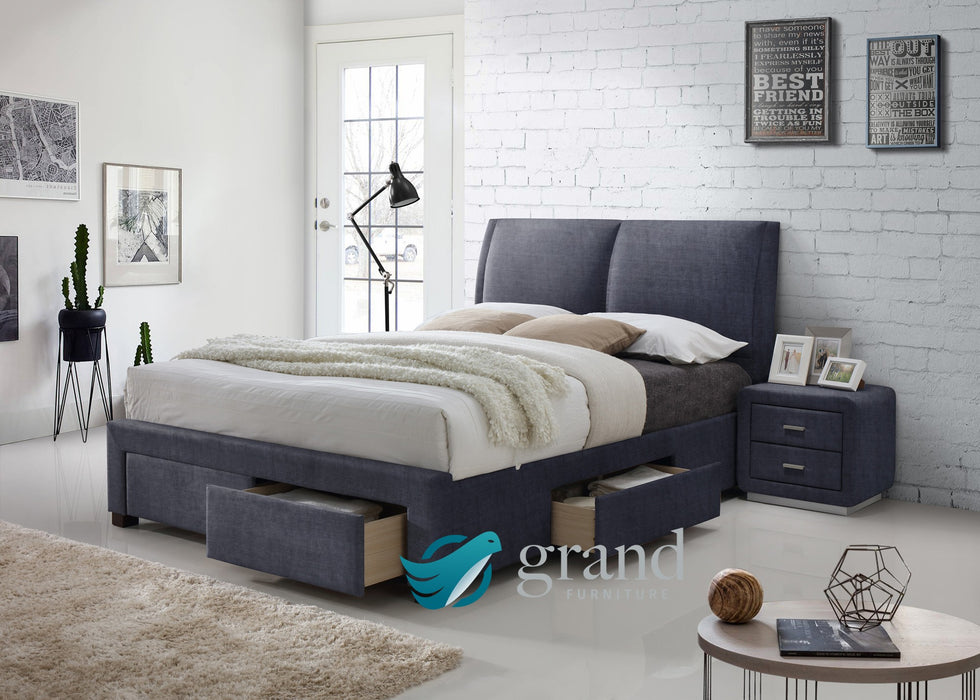 Montana 4 Drawer Fabric Bed in Dark Grey